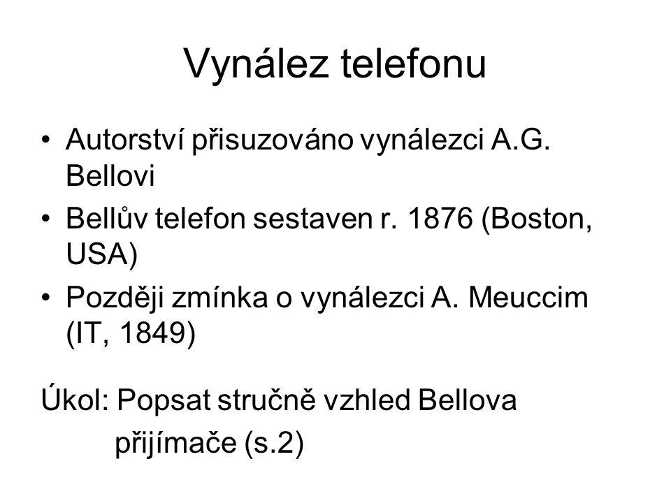 Vynález telefonu Autorství přisuzováno vynálezci A.G. Bellovi