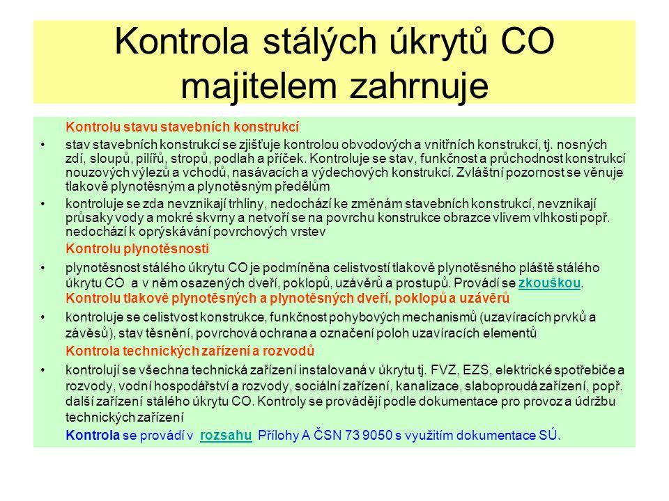 Kontrola stálých úkrytů CO majitelem zahrnuje