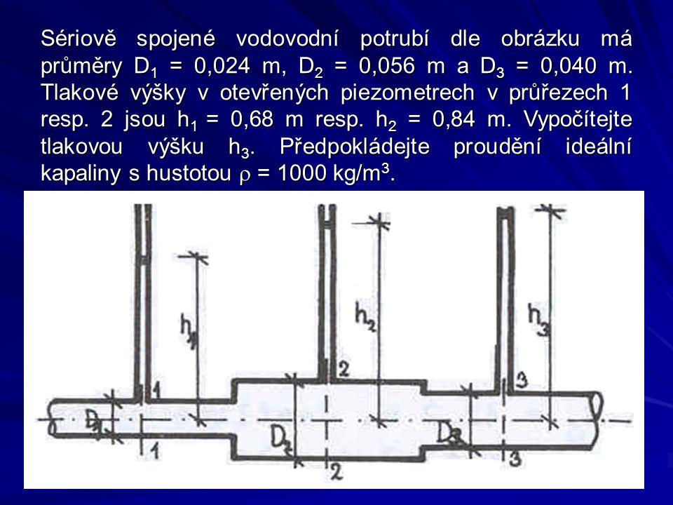 Sériově spojené vodovodní potrubí dle obrázku má průměry D1 = 0,024 m, D2 = 0,056 m a D3 = 0,040 m.
