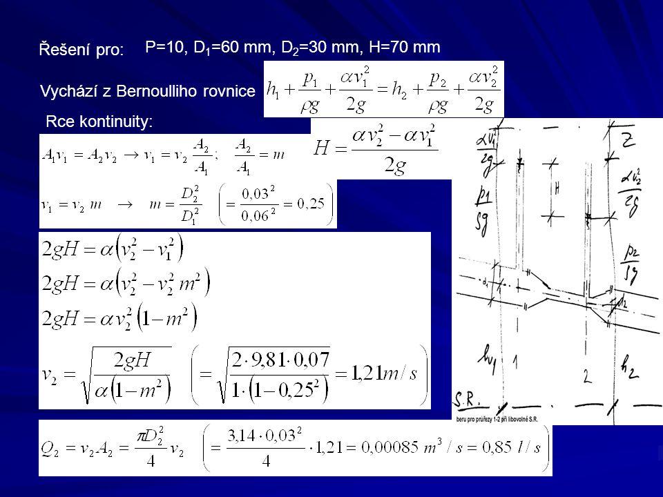 Řešení pro: P=10, D1=60 mm, D2=30 mm, H=70 mm Vychází z Bernoulliho rovnice Rce kontinuity: