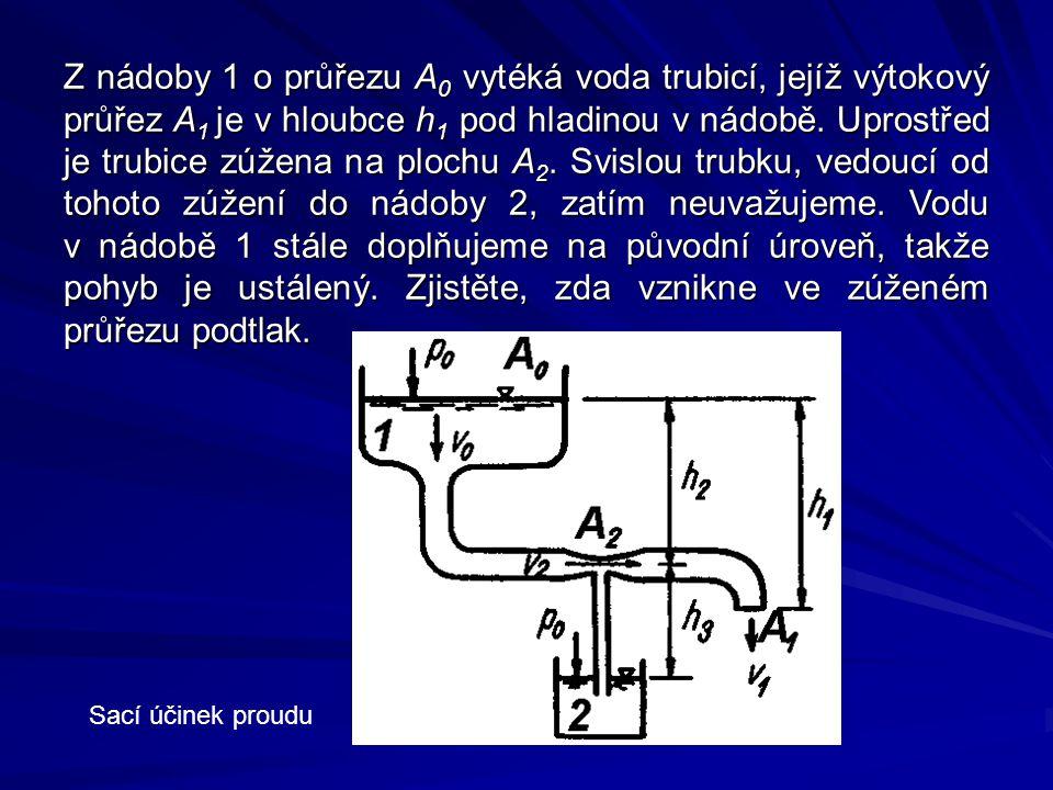 Z nádoby 1 o průřezu A0 vytéká voda trubicí, jejíž výtokový průřez A1 je v hloubce h1 pod hladinou v nádobě. Uprostřed je trubice zúžena na plochu A2. Svislou trubku, vedoucí od tohoto zúžení do nádoby 2, zatím neuvažujeme. Vodu v nádobě 1 stále doplňujeme na původní úroveň, takže pohyb je ustálený. Zjistěte, zda vznikne ve zúženém průřezu podtlak.