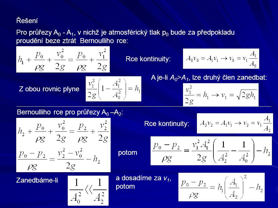 Řešení Pro průřezy A0 - A1, v nichž je atmosférický tlak p0 bude za předpokladu. proudění beze ztrát Bernoulliho rce: