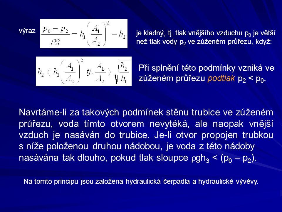 nasávána tak dlouho, pokud tlak sloupce rgh3 < (p0 – p2).