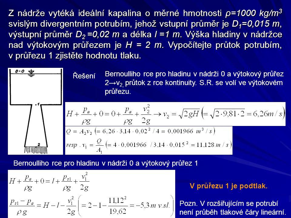 Z nádrže vytéká ideální kapalina o měrné hmotnosti ρ=1000 kg/m3 svislým divergentním potrubím, jehož vstupní průměr je D1=0,015 m, výstupní průměr D2 =0,02 m a délka l =1 m. Výška hladiny v nádržce nad výtokovým průřezem je H = 2 m. Vypočítejte průtok potrubím, v průřezu 1 zjistěte hodnotu tlaku.