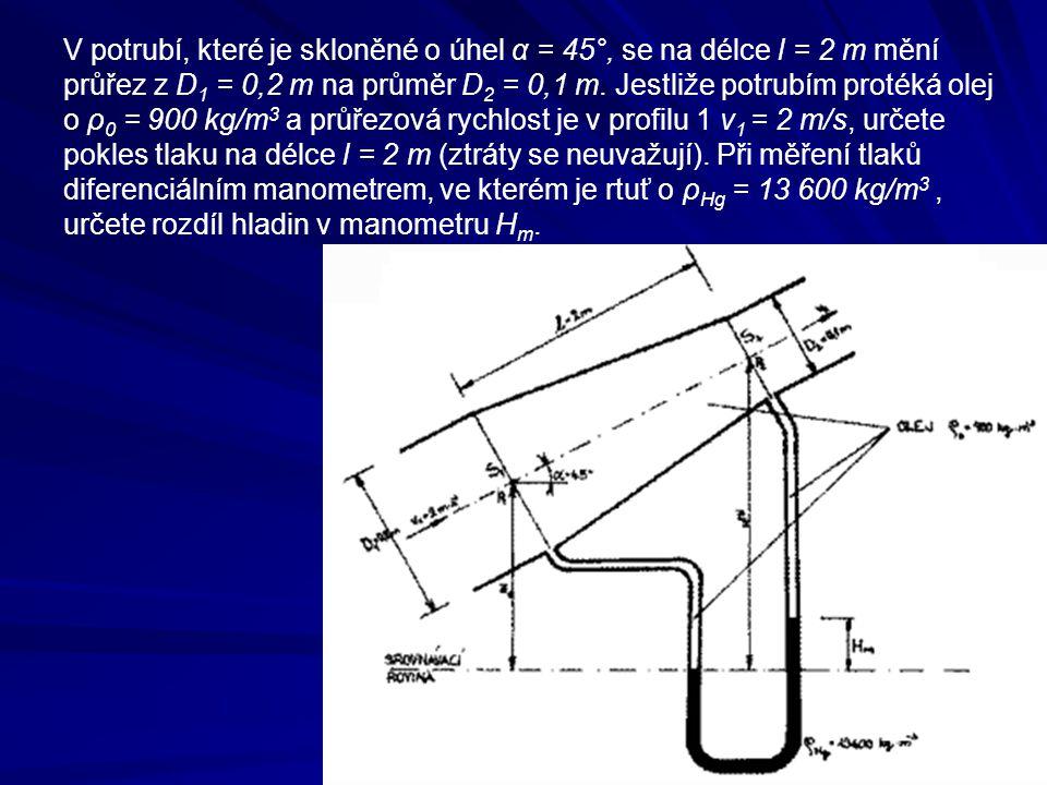 V potrubí, které je skloněné o úhel α = 45°, se na délce l = 2 m mění průřez z D1 = 0,2 m na průměr D2 = 0,1 m.