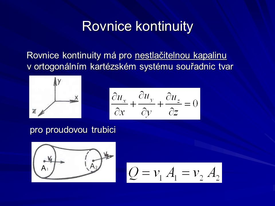 Rovnice kontinuity Rovnice kontinuity má pro nestlačitelnou kapalinu v ortogonálním kartézském systému souřadnic tvar.