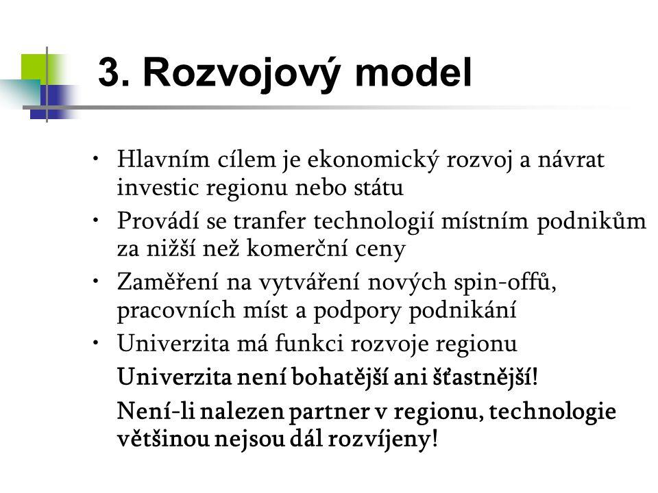 3. Rozvojový model Hlavním cílem je ekonomický rozvoj a návrat investic regionu nebo státu.