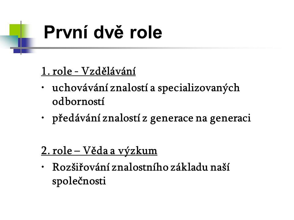 První dvě role 1. role - Vzdělávání