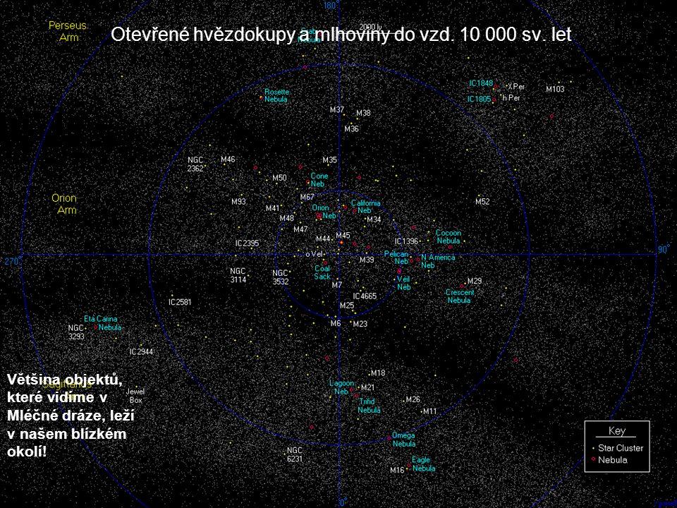 Otevřené hvězdokupy a mlhoviny do vzd. 10 000 sv. let