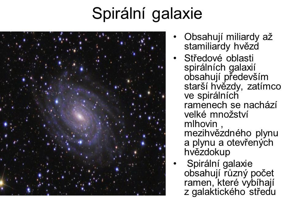 Spirální galaxie Obsahují miliardy až stamiliardy hvězd