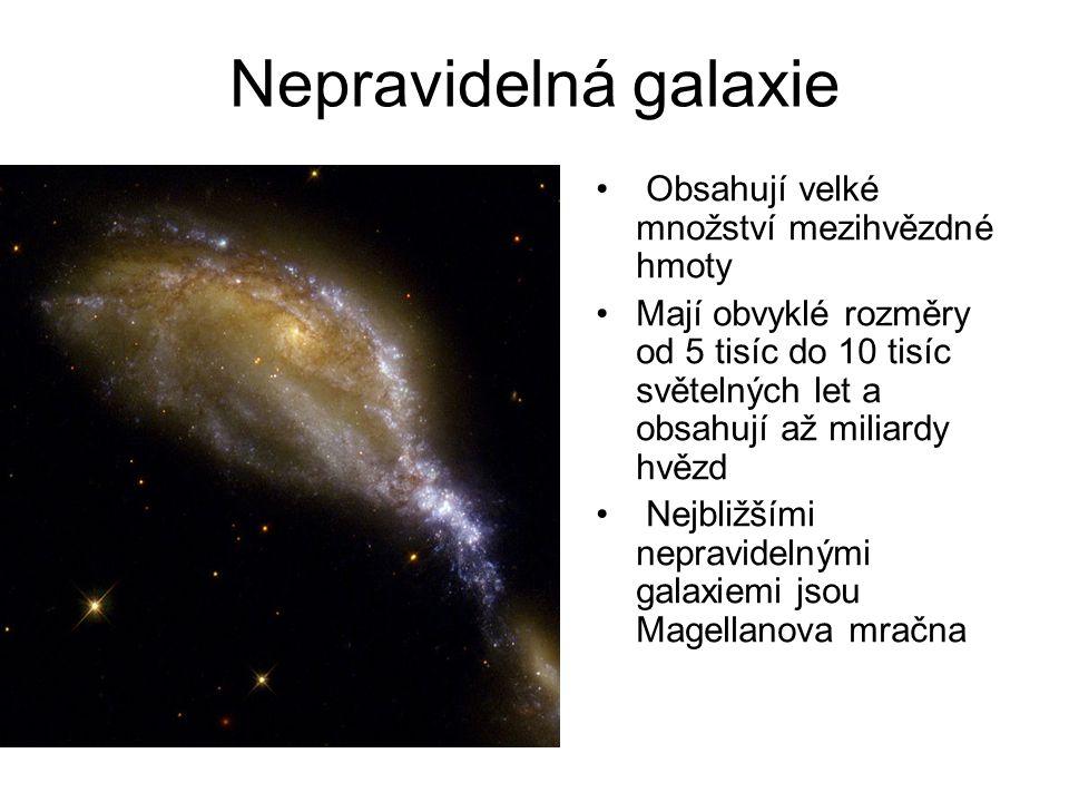 Nepravidelná galaxie Obsahují velké množství mezihvězdné hmoty