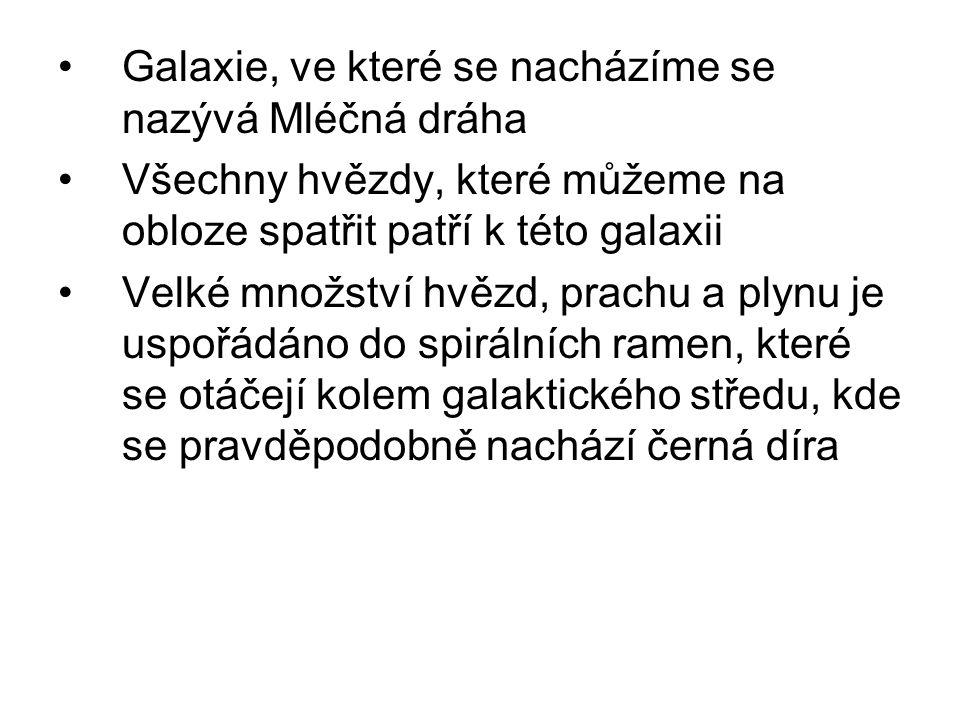 Galaxie, ve které se nacházíme se nazývá Mléčná dráha