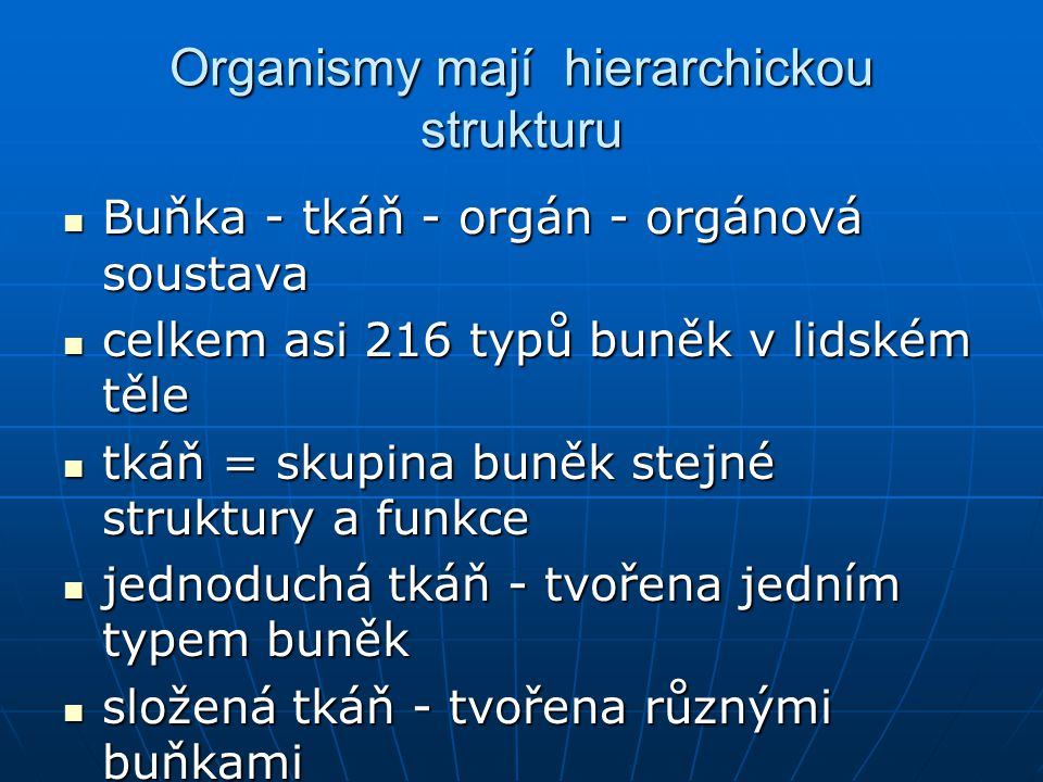 Organismy mají hierarchickou strukturu