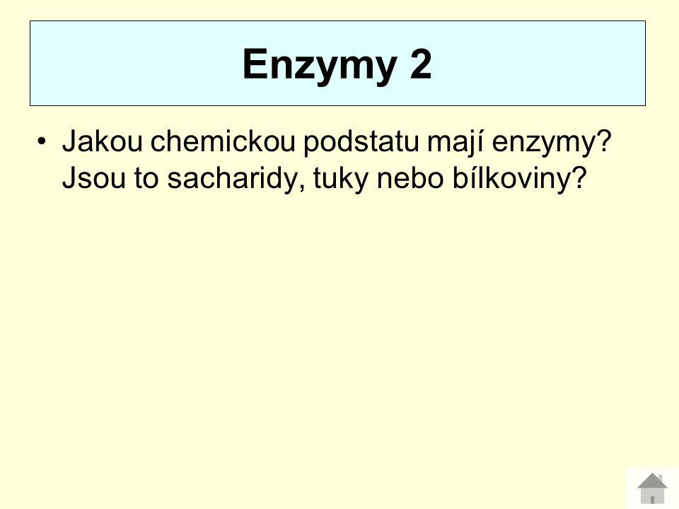 Enzymy 2 Jakou chemickou podstatu mají enzymy Jsou to sacharidy, tuky nebo bílkoviny