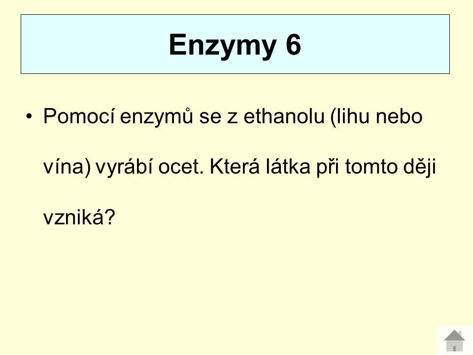 Enzymy 6 Pomocí enzymů se z ethanolu (lihu nebo vína) vyrábí ocet.