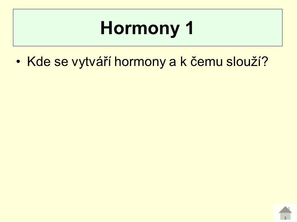 Hormony 1 Kde se vytváří hormony a k čemu slouží
