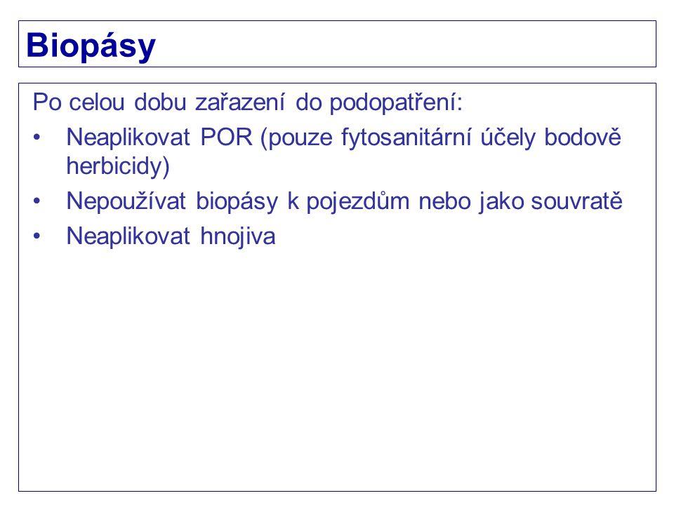 Biopásy Po celou dobu zařazení do podopatření: