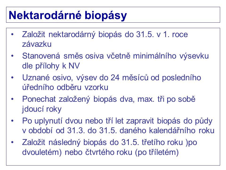 Nektarodárné biopásy Založit nektarodárný biopás do 31.5. v 1. roce závazku. Stanovená směs osiva včetně minimálního výsevku dle přílohy k NV.