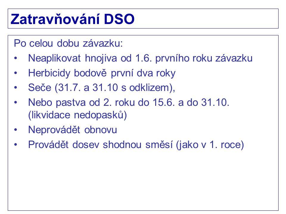 Zatravňování DSO Po celou dobu závazku: