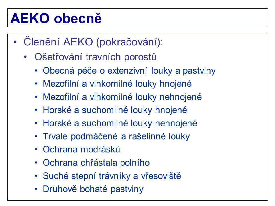 AEKO obecně Členění AEKO (pokračování): Ošetřování travních porostů
