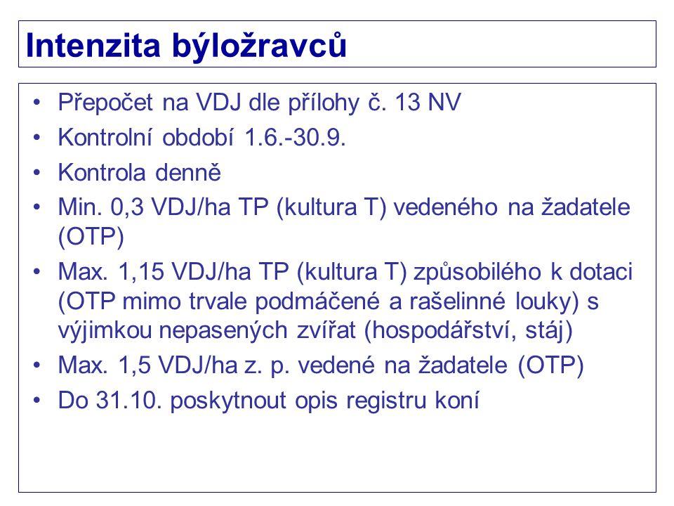 Intenzita býložravců Přepočet na VDJ dle přílohy č. 13 NV