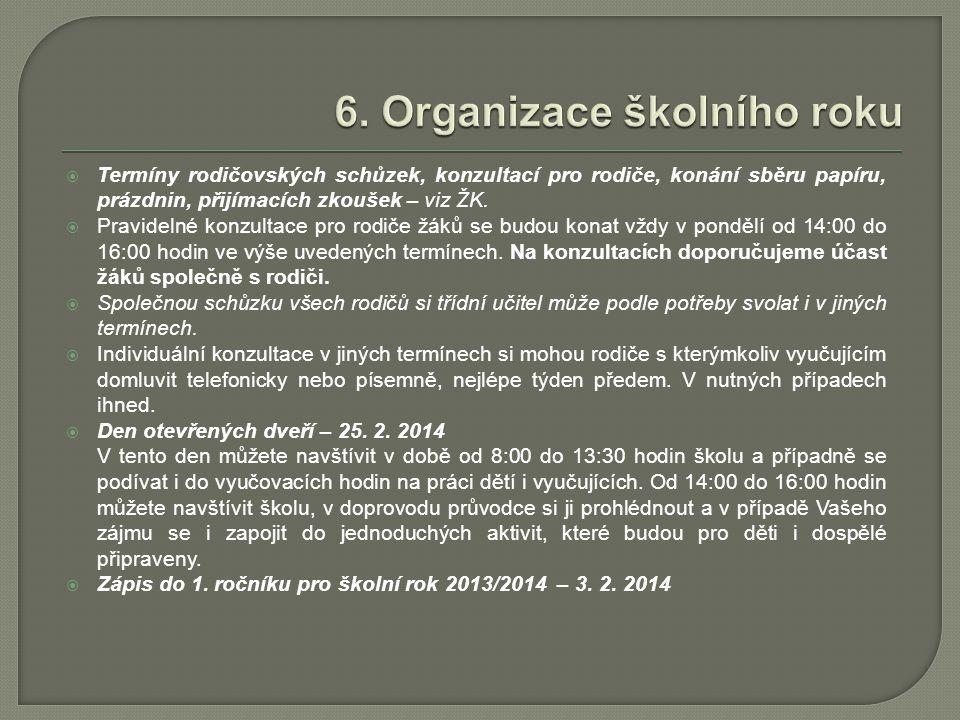 6. Organizace školního roku
