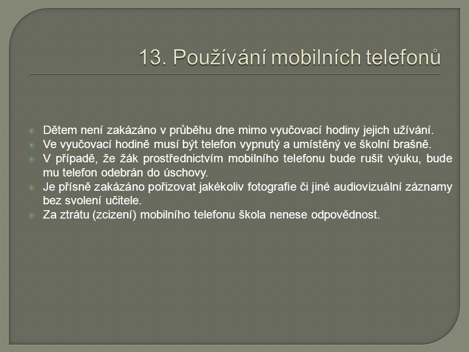 13. Používání mobilních telefonů