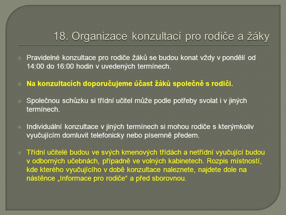 18. Organizace konzultací pro rodiče a žáky