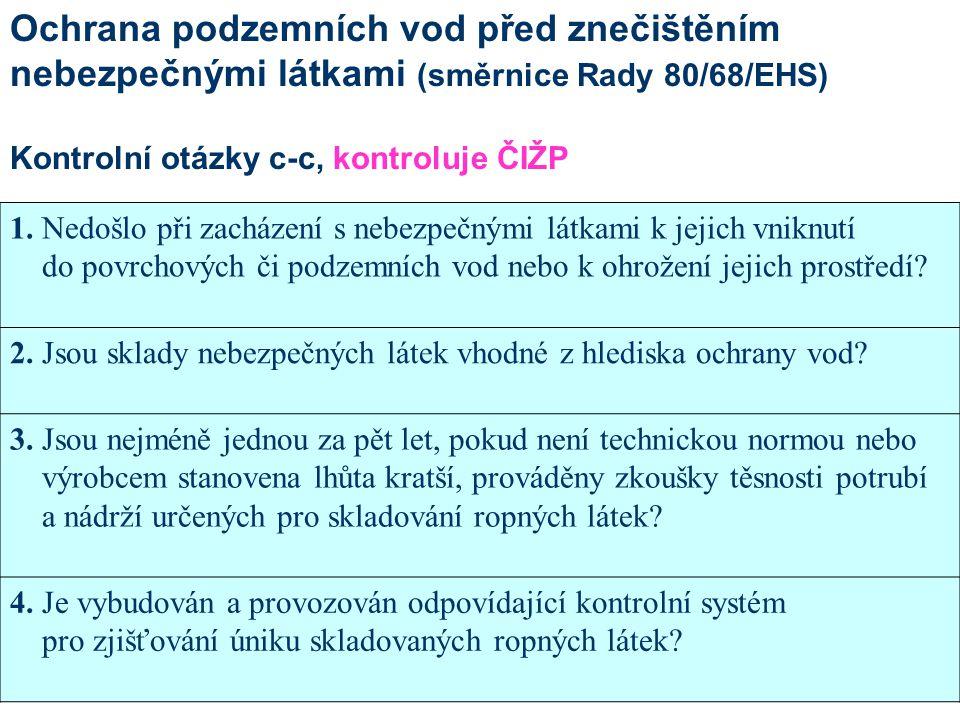 Ochrana podzemních vod před znečištěním nebezpečnými látkami (směrnice Rady 80/68/EHS)