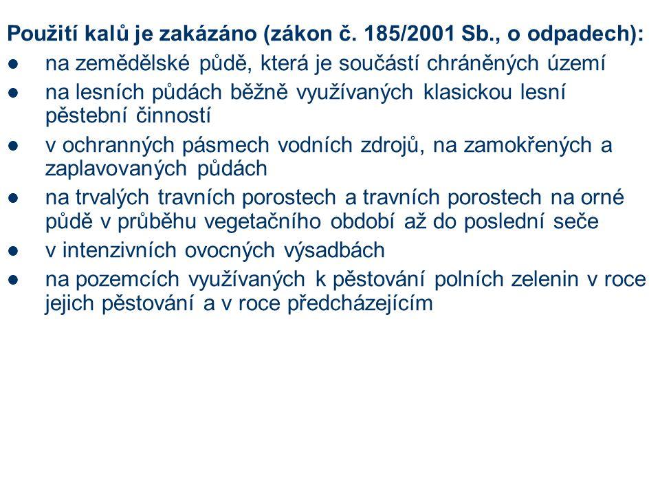 Použití kalů je zakázáno (zákon č. 185/2001 Sb., o odpadech):