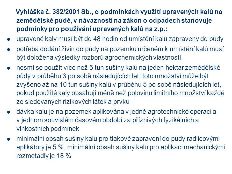 Vyhláška č. 382/2001 Sb., o podmínkách využití upravených kalů na zemědělské půdě, v návaznosti na zákon o odpadech stanovuje podmínky pro používání upravených kalů na z.p.: