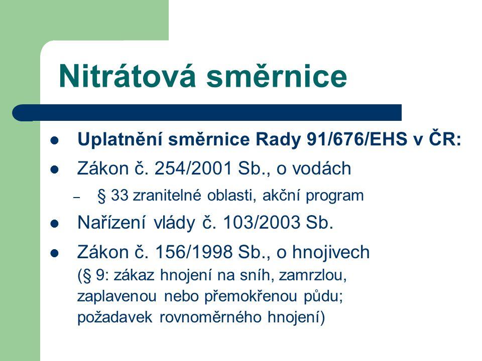 Nitrátová směrnice Uplatnění směrnice Rady 91/676/EHS v ČR: