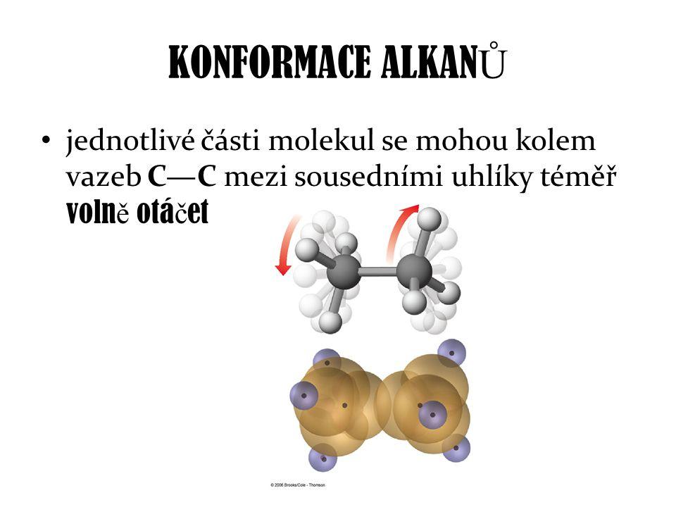 KONFORMACE ALKANŮ jednotlivé části molekul se mohou kolem vazeb C—C mezi sousedními uhlíky téměř volně otáčet.