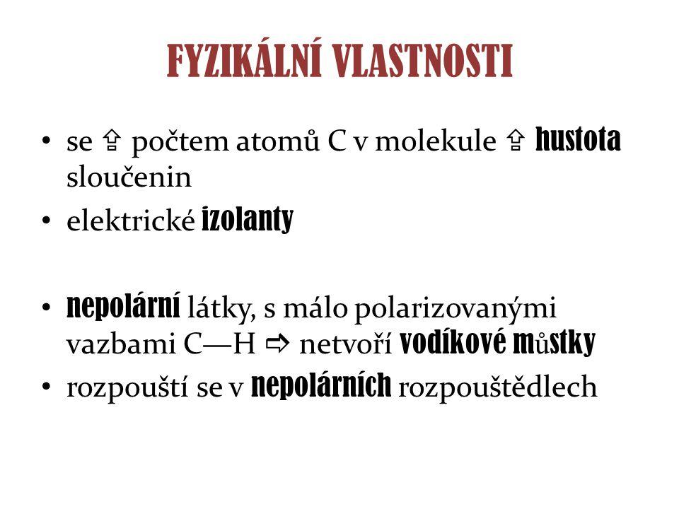 FYZIKÁLNÍ VLASTNOSTI se  počtem atomů C v molekule  hustota sloučenin. elektrické izolanty.