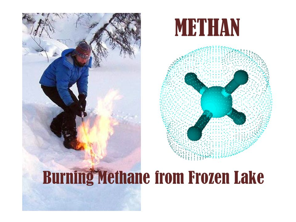Burning Methane from Frozen Lake