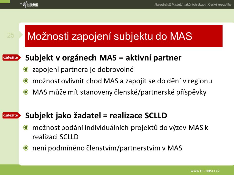 Možnosti zapojení subjektu do MAS