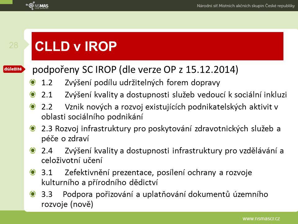 CLLD v IROP podpořeny SC IROP (dle verze OP z 15.12.2014)