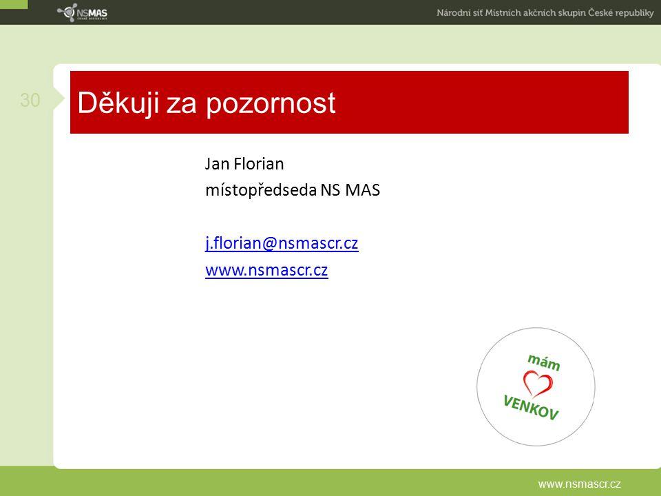 Děkuji za pozornost Jan Florian místopředseda NS MAS j.florian@nsmascr.cz www.nsmascr.cz www.nsmascr.cz.