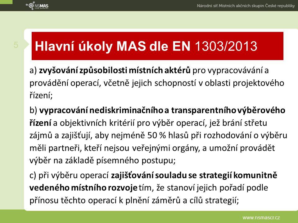 Hlavní úkoly MAS dle EN 1303/2013