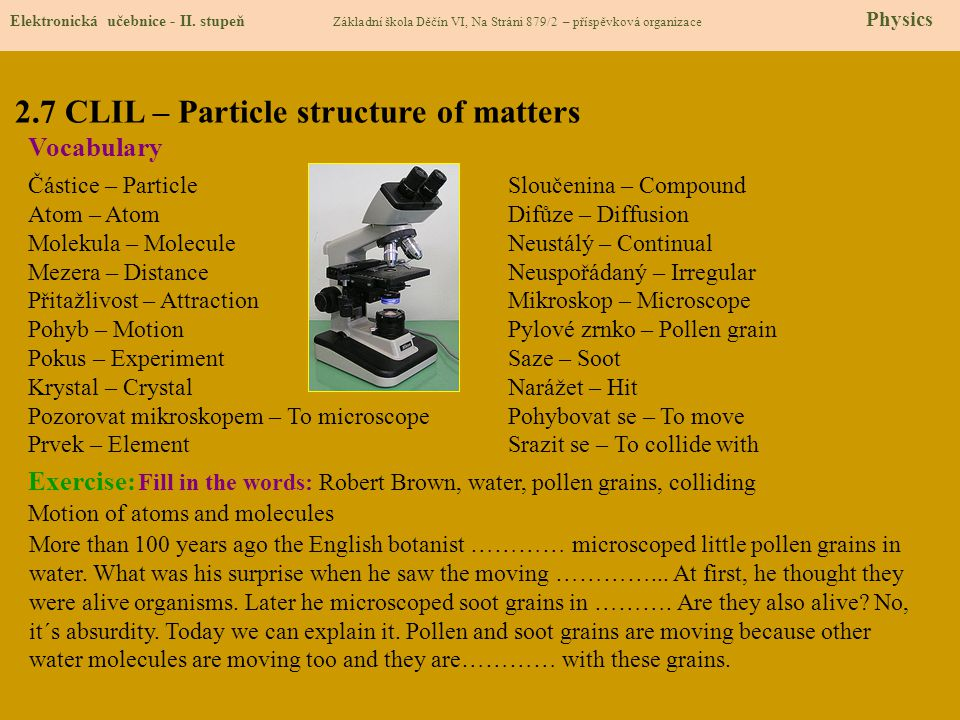 2.7 CLIL – Particle structure of matters