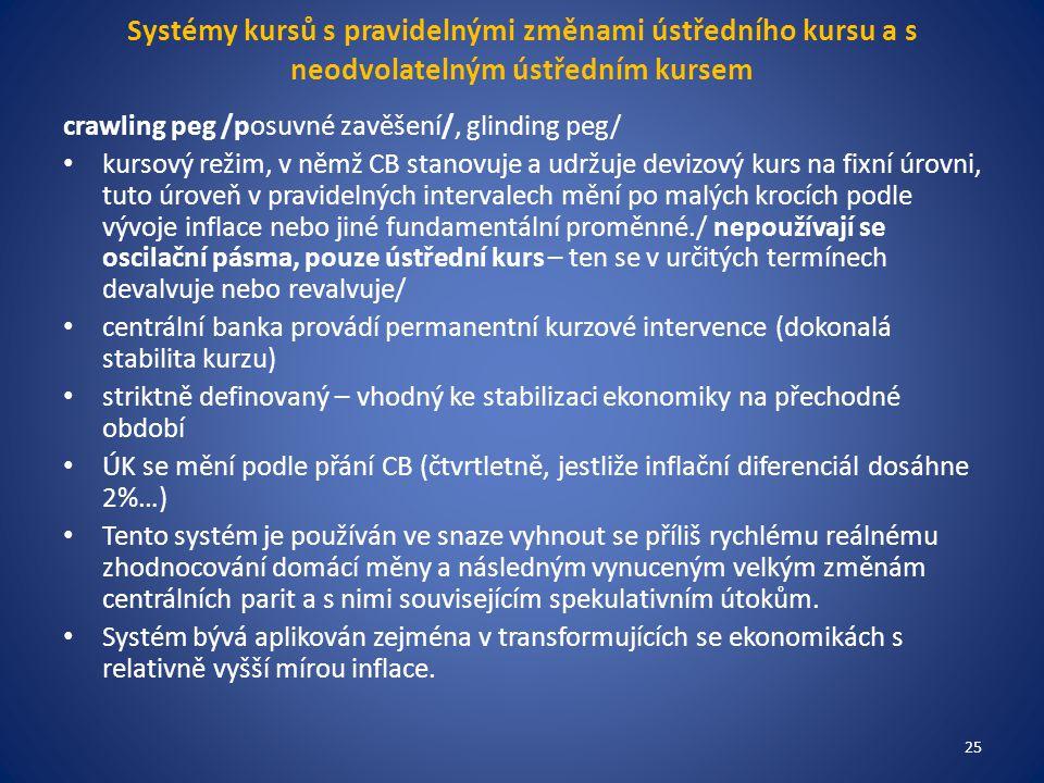 Systémy kursů s pravidelnými změnami ústředního kursu a s neodvolatelným ústředním kursem