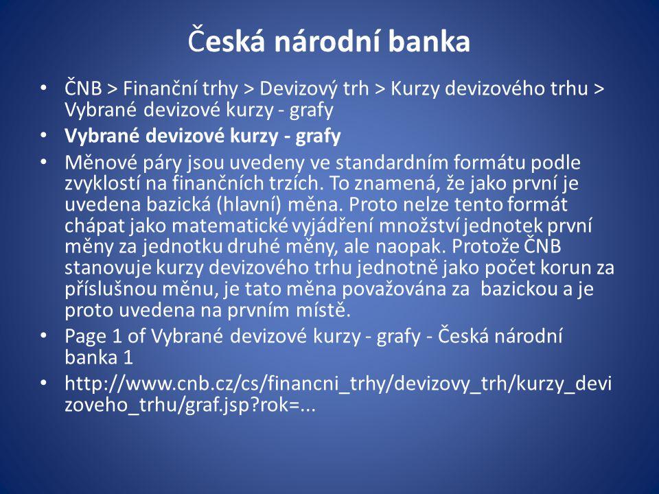Česká národní banka ČNB > Finanční trhy > Devizový trh > Kurzy devizového trhu > Vybrané devizové kurzy - grafy.