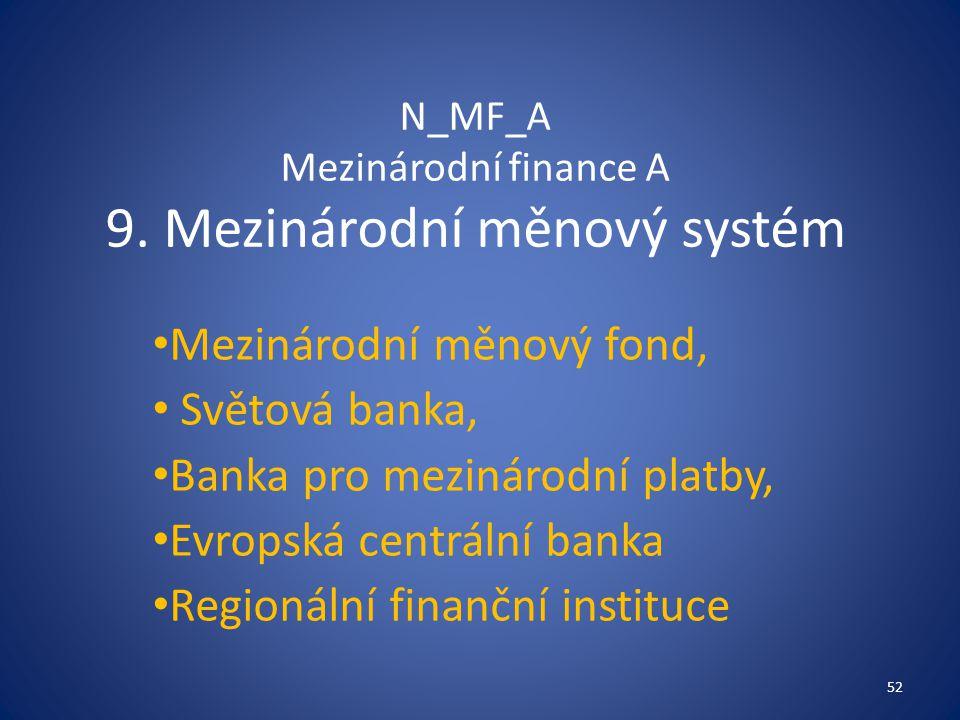 N_MF_A Mezinárodní finance A 9. Mezinárodní měnový systém
