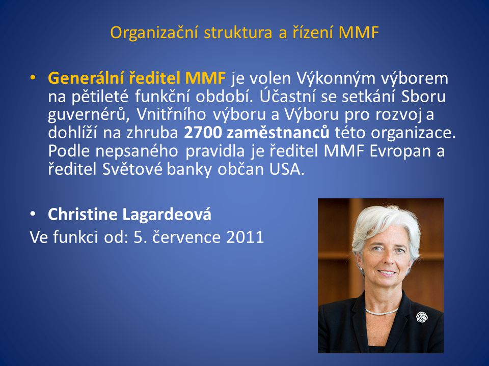 Organizační struktura a řízení MMF