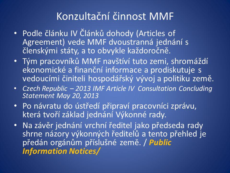 Konzultační činnost MMF