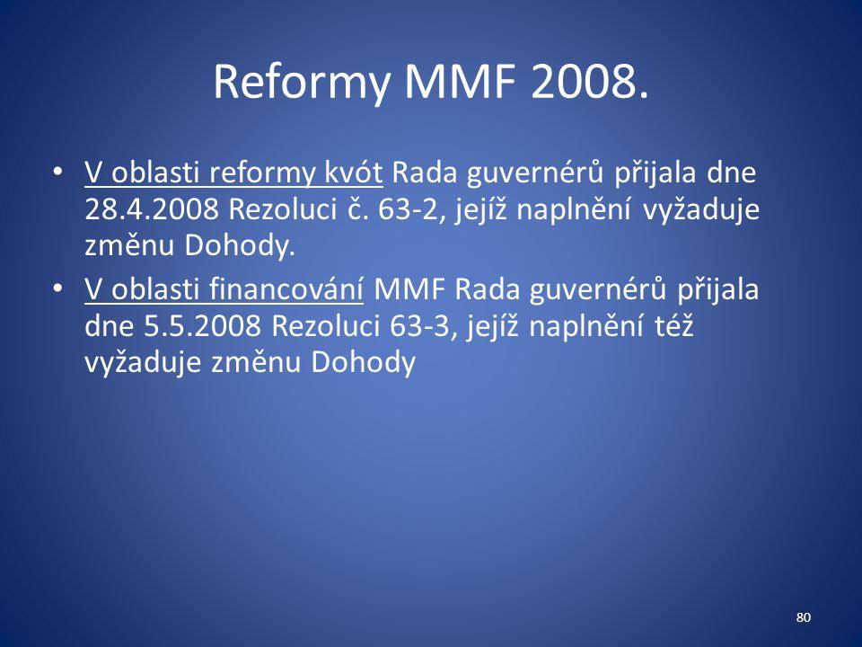 Reformy MMF 2008. V oblasti reformy kvót Rada guvernérů přijala dne 28.4.2008 Rezoluci č. 63-2, jejíž naplnění vyžaduje změnu Dohody.
