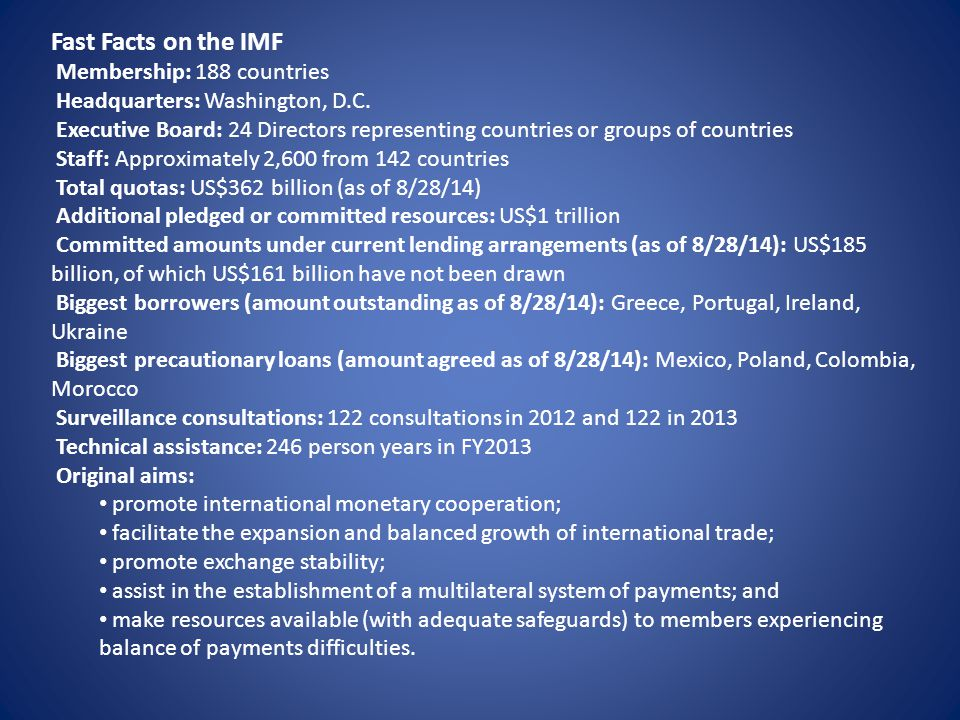 Fast Facts on the IMF Membership: 188 countries
