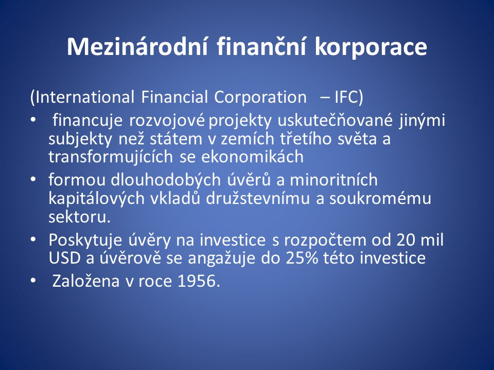 Mezinárodní finanční korporace