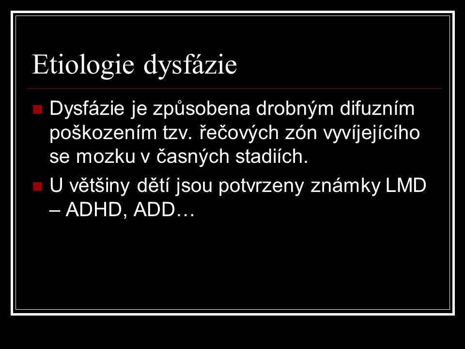 Etiologie dysfázie Dysfázie je způsobena drobným difuzním poškozením tzv. řečových zón vyvíjejícího se mozku v časných stadiích.