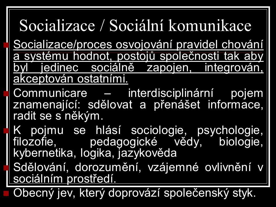 Socializace / Sociální komunikace